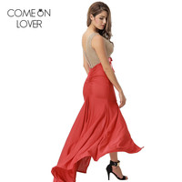 Comeonlover Bandage Adjustable Sexy Vestido Feminino Gold Lace Slit Evening Party Abiye Red Color Mermaid Bodycon