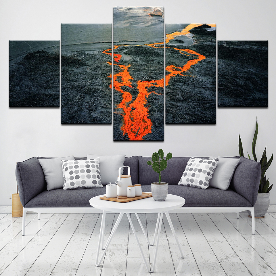 Golden river in the mountains 5 Piece HD Wallpapers Art Canvas Print modern Poster Modular art painting for Living Room Decor ...