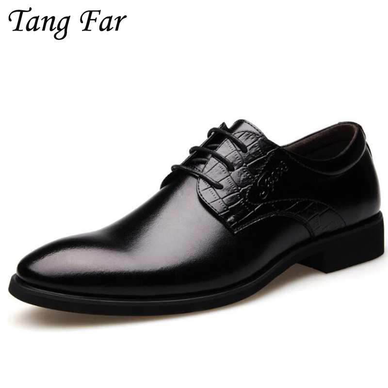Spring Elegant Men's Pointed Formal Shoes Comfortable Lace Business Shoes Brown Solid Leather Oxfords