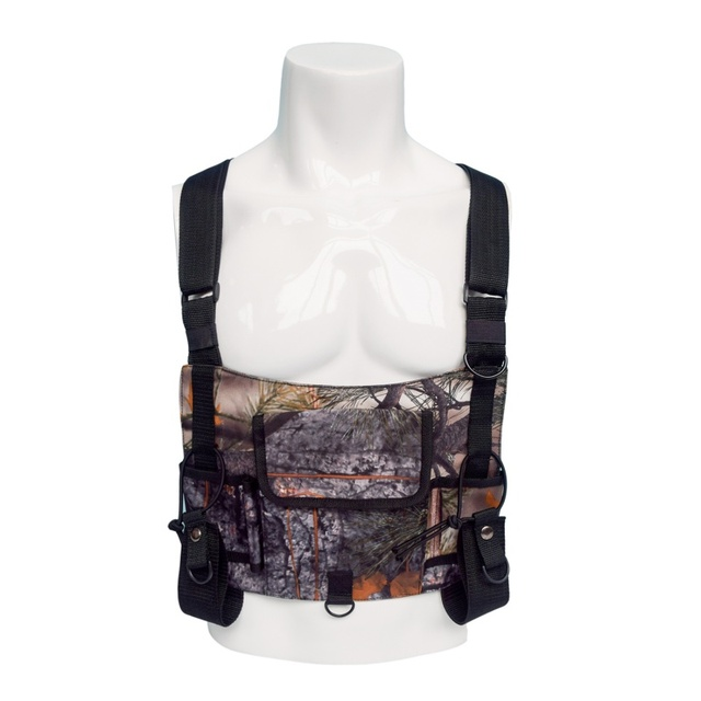 41b9eec30a245 Hunting Bag Radio Vest Chest Rig Harness Front Pack Pouch Holster Vest Rig  WITH Walkie Talkie