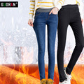 Guoran jeans skinny femininas calças jeans casual calças grossas quentes calças slim lápis trecho de veludo calça jeans de cintura alta das mulheres de inverno