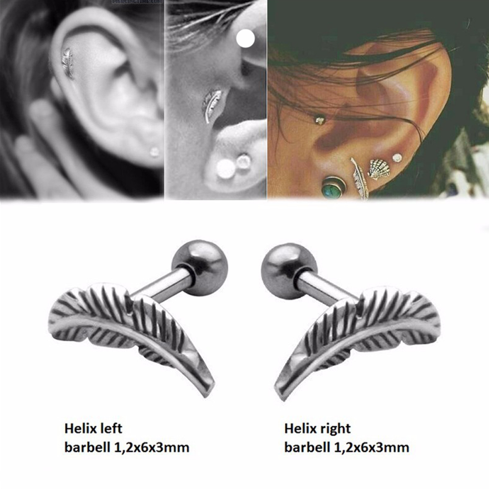 2PCS Ear Cartilage Helix Stud Barbell Bar Chic Feather Earring Piercing Jewelry