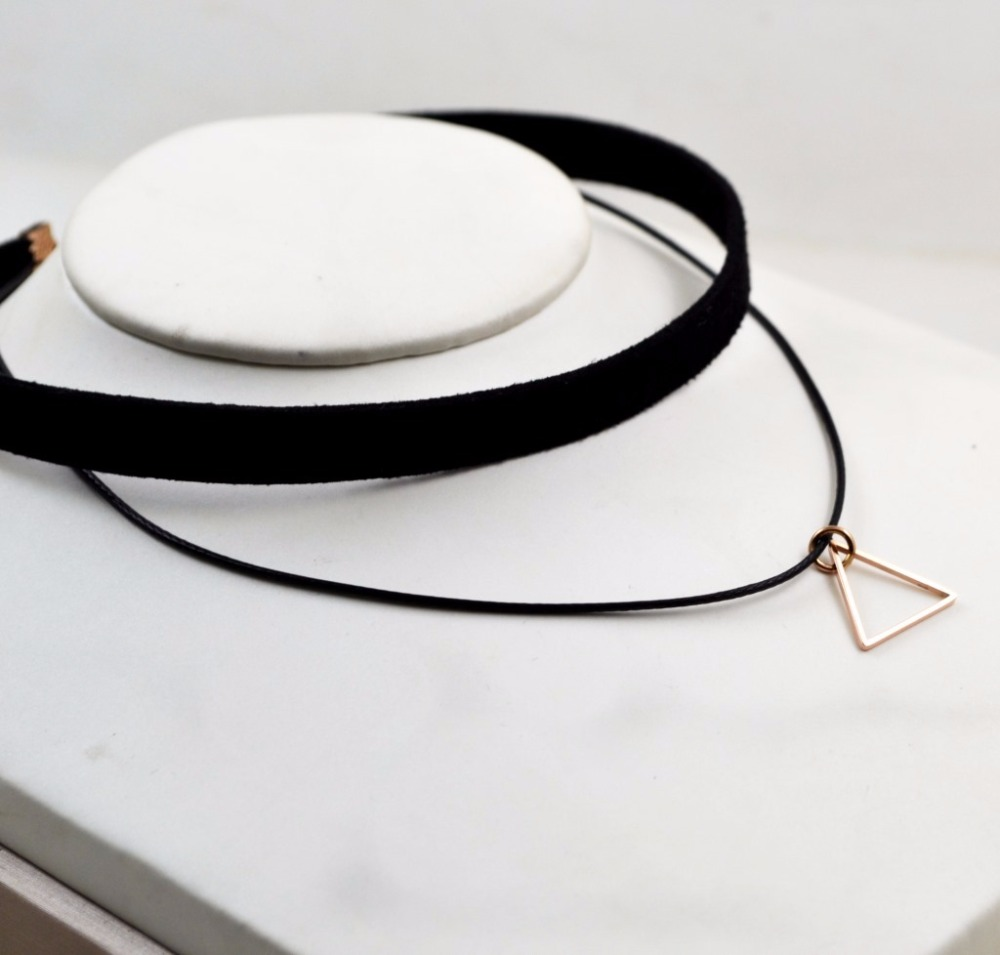 BFQ 2019 cotton black choker necklace for women stainless steel triangle necklaces & pendants short necklace kolye colar collier
