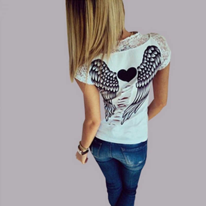 78d319d04ce Women s T shirt Back Hollow Angel Wings T-shirt Tops Summer Style Woman  Lace Short