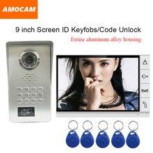 Big discount LUXURY 9″ LCD Screen Aluminium Alloy Video Door Phone Intercom Kit Waterproof Dustproof IR Night Vision RFID Keyfobs/Code Unlock
