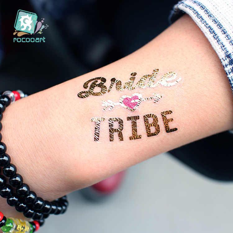 Rocooart надпись «Bride Tribe» татуировки девичник вечерние штаны с фальш-вставкой, свадебные Taty команда Свадебные Водонепроницаемый временные наклейки для временных татуировок