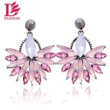 Beautiful Fashion Flower Crystal Stud Earrings Jewelry 2016 New Brand Full Austrian Rhinestone Crystal Stud Earrings for Women
