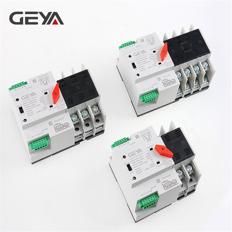 Free Shipping GEYA Din Rail 220V PC Automatic Transfer Switch 63A 100A Household Power Transfer Switch