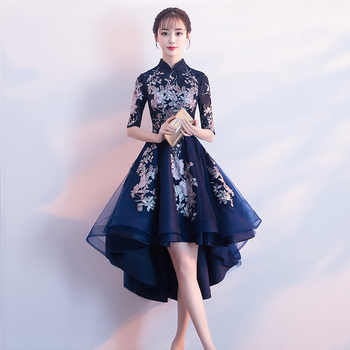 Orientalny damski wieczór Cheongsam wesele sukienka tradycyjny chiński styl elegancki Qipao długie suknie Retro Vestido XS-XXXL tanie i dobre opinie Kobiety Poliester Mesh Koronki Dopasowanie i pochodni Stałe Połowa Haft Połowy łydki REGULAR Naturalne Stójka Wiosna
