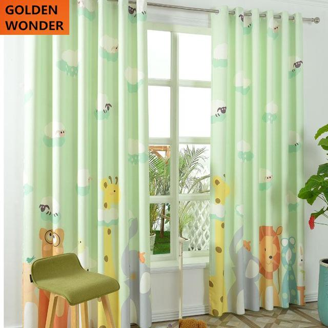 New Design Animal Kingdom Children Room Linen Curtain Cartoon Curtains For  Living Room Green Curtain Sets