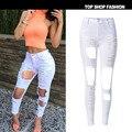 De las mujeres Jeans Delgado Elasticidad Lápiz Pantalones Grandes Agujeros Vaqueros Ajustados Mujer Más Tamaño Blanco Blanco Ripped Jeans Para Mujeres