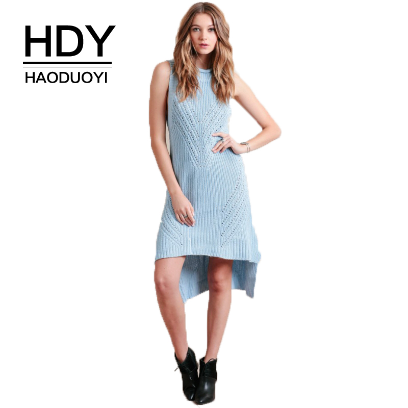 HDY Haoduoyi Brand 2017 Christmas Party Women Causal Sweet Blue Sweaters Sleeveless Female Elegant Pullovers Lady Hollow Out Top