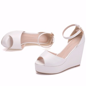Image 5 - Crystal Queen Superior Bohemian Wedges Women Sandals For Ladies Shoes High Platform Open Toe White Pu High Heel Pumps Wedges