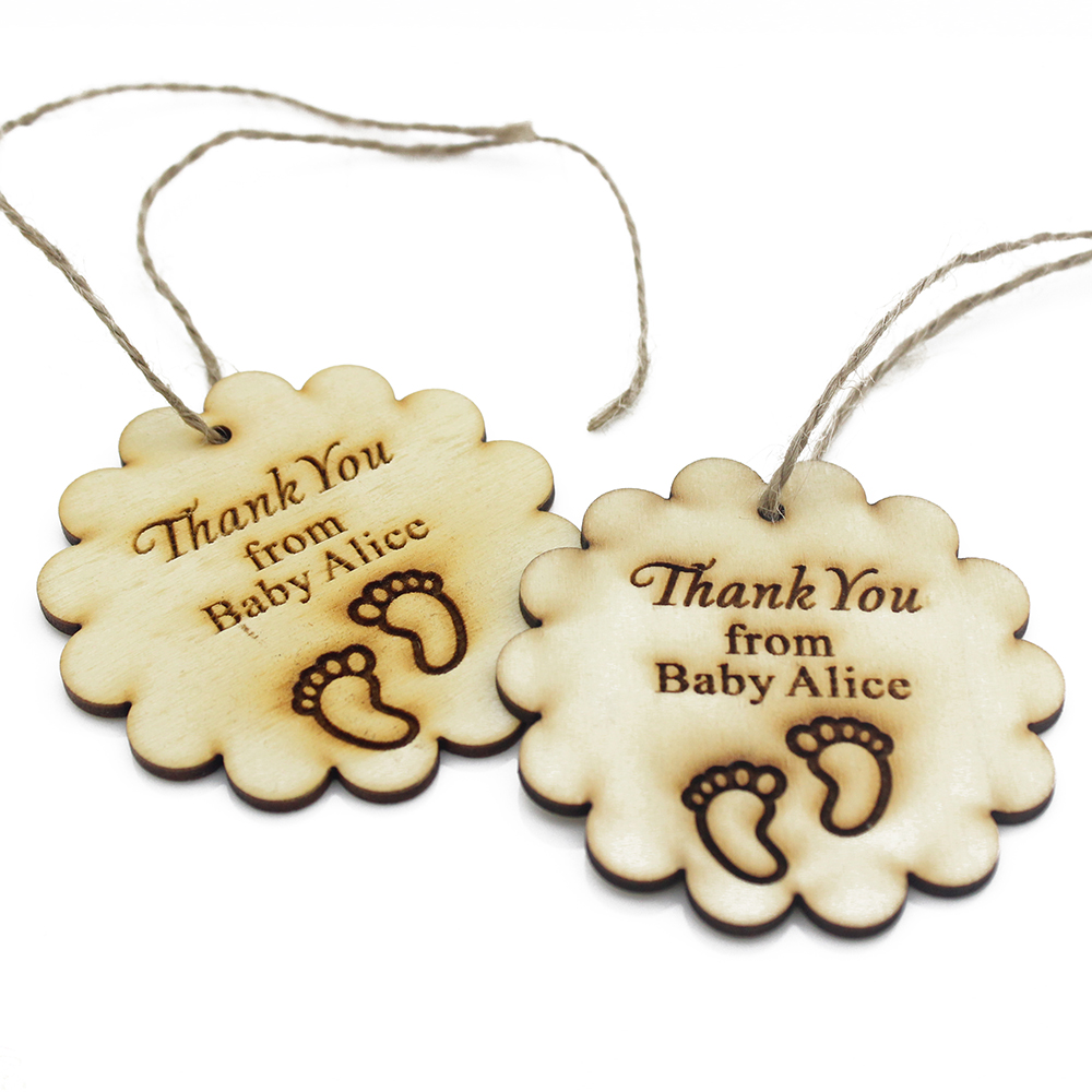 50pcs Personalized Engraved Wooden Tags With Jute Ribbon Party Gift Decor Presents Baby Shower Gifts Tag Party Favor 45x45mm
