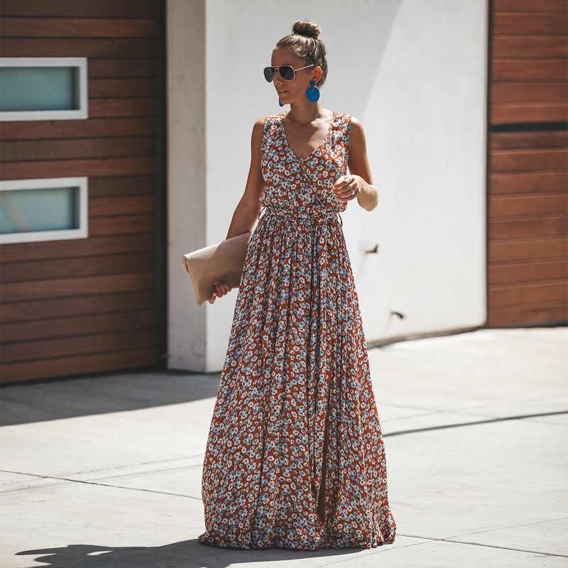 Z-ZOUX женское платье длинное шифоновое Цветочное платье женское цветочное Макси платье Летнее для пляжа в богемном стиле длинное с v-образным вырезом без рукавов с разрезом и высокой талией