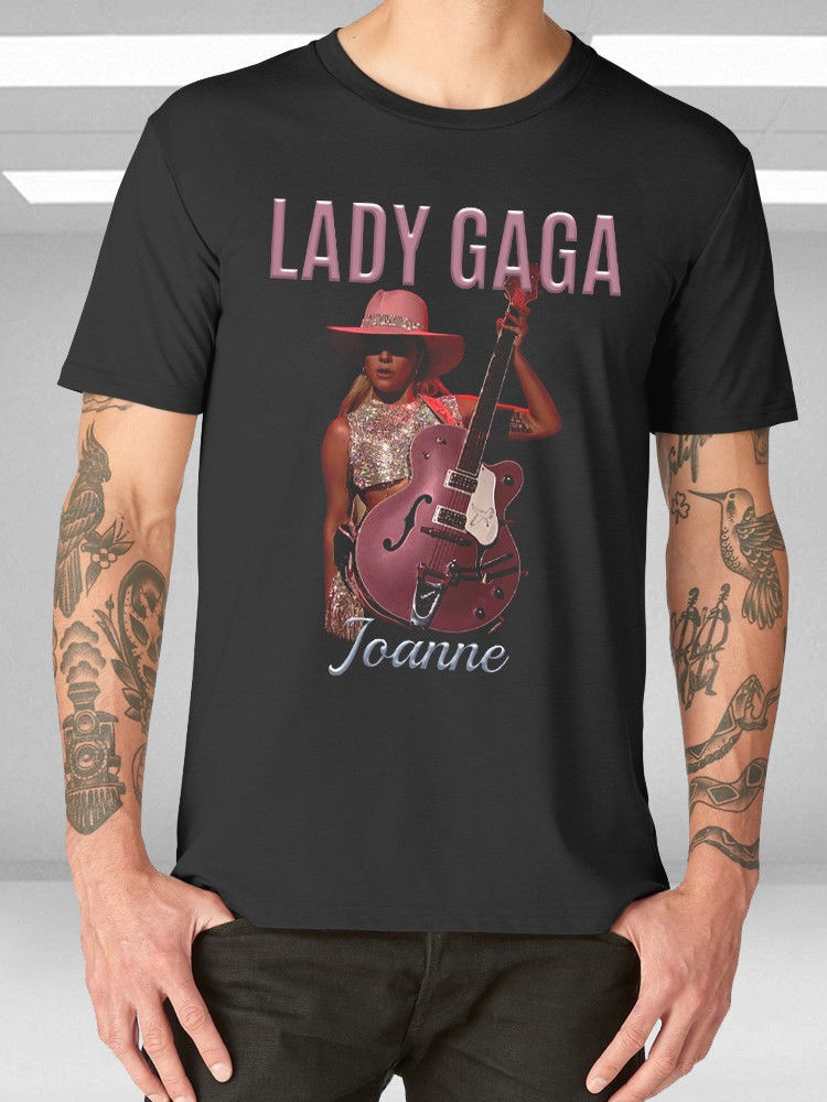 Best Funny T Shirts Short Sleeve Zomer Crew Neck Mens New Lady Gaga Joanne World Tour Logo Guitar Mens Casual T-Shirt T Shirts