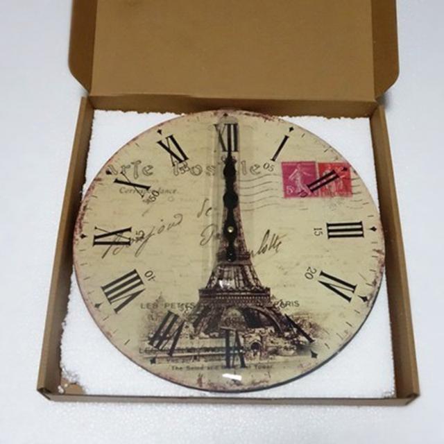 New 34CM Antique Vintage Rustic MDF Wood Wall Clock Home Decor Decorations For Home Saat Alarm Clock Mechanism Digital Clock
