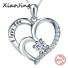 New arrival 925 sterling silver I love you heart shape pendant chain necklace with elegant CZ diy fashion jewelry making gifts