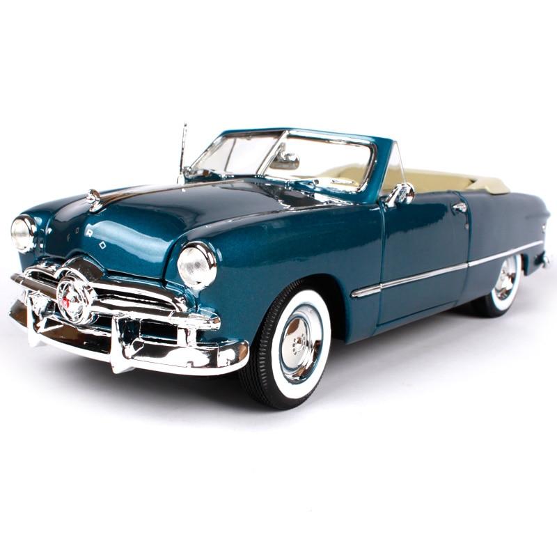 Maisto 1:18 1949 ford gris bleu vieille voiture moulé sous pression 270*100*85mm luxe vintage voiture modèle ouvert-top automobile collection 31682