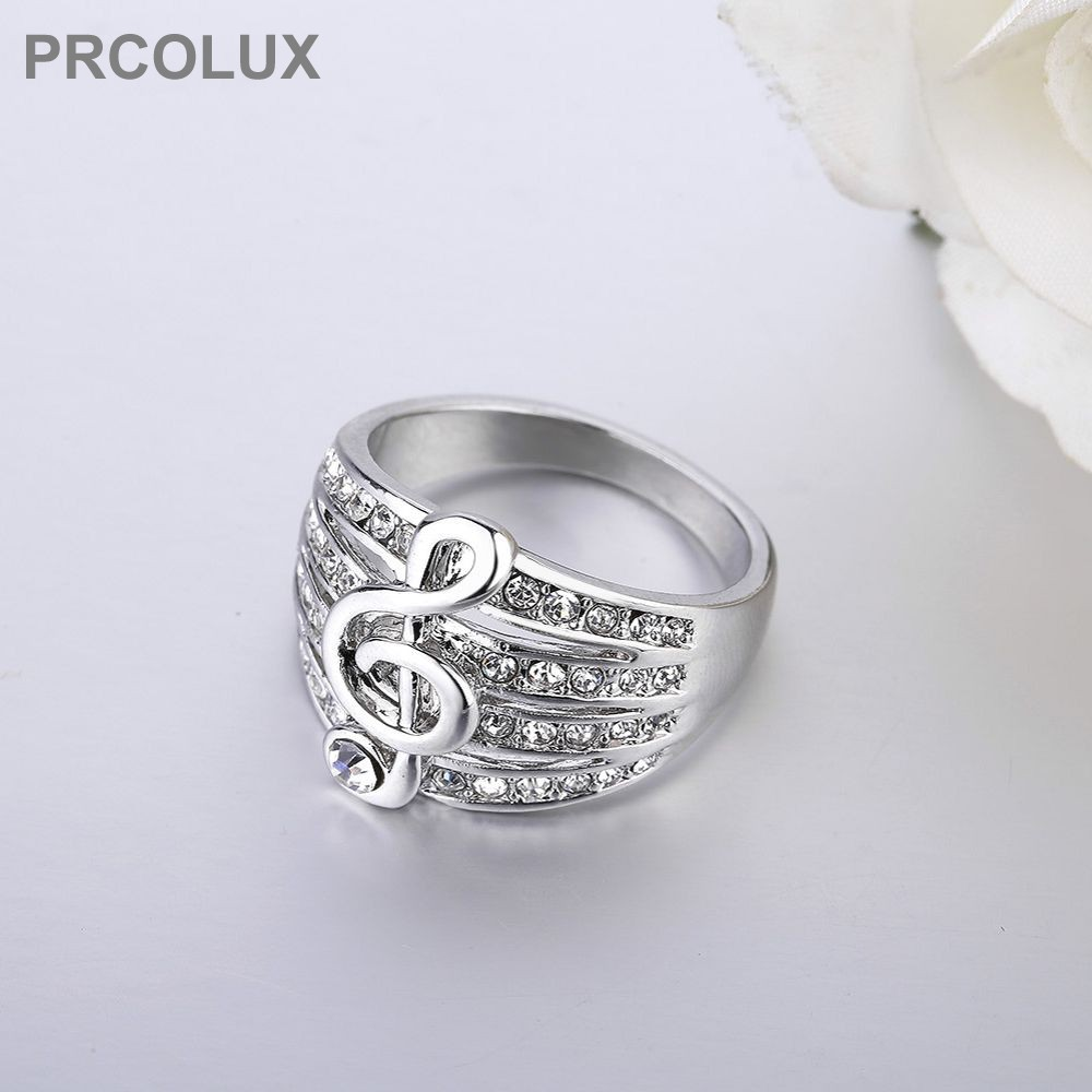 aliexpresscom buy prcolux fashion girl wedding rings for women white cz music note gold color engagement party ring female finger jewelry qfa27 from
