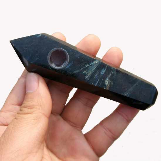 1pcs คริสตัลควอตซ์คริสตัลหิน Labradorite สูบบุหรี่ท่อรักษา 10.5x3x1.9 ซม.คริสตัลหินตกแต่ง