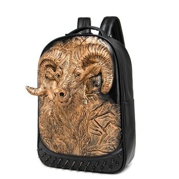 Black Leather Backpack Purse | 3D Antelope Animal Embossing Rivet Black Satchel Man Women School Backpack Halloween Cool Leather Laptop Travel Soft Bags
