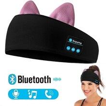 JINSERTA kedi kulaklıklar kablosuz Stereo Bluetooth kulaklık uyku maskesi telefonu kafa bandı uyku yumuşak kulaklık müzik kulaklık