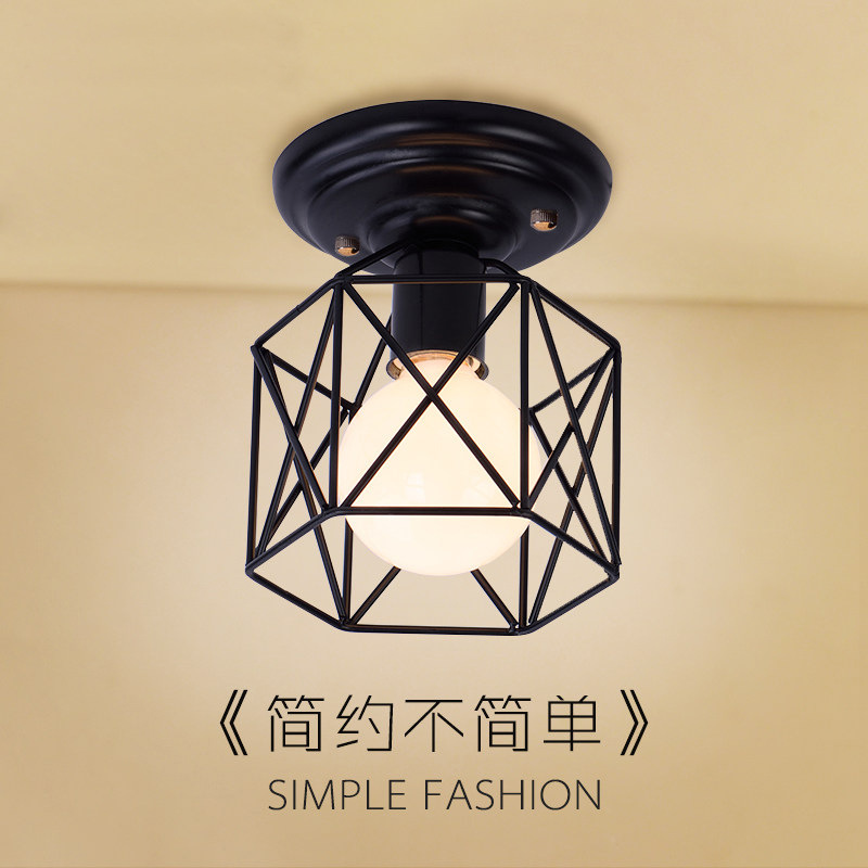 Nordic creative black loft ceiling lamps with E27 Socket iron restaurant balcony study corridor hall indoor lighting vemma acrylic minimalist modern led ceiling lamps kitchen bathroom bedroom balcony corridor lamp lighting study
