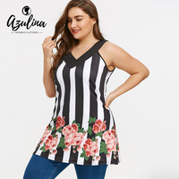 AZULINA Big Plus Size Tank Tops Women Casual Stripe Floral Print V Neck Sleeveless Tunic Ladies
