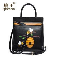 Women bag QIWANG 2016 new genuine leather bag fashion Hand-painted cartoon quality women leather handbags shoulder bag