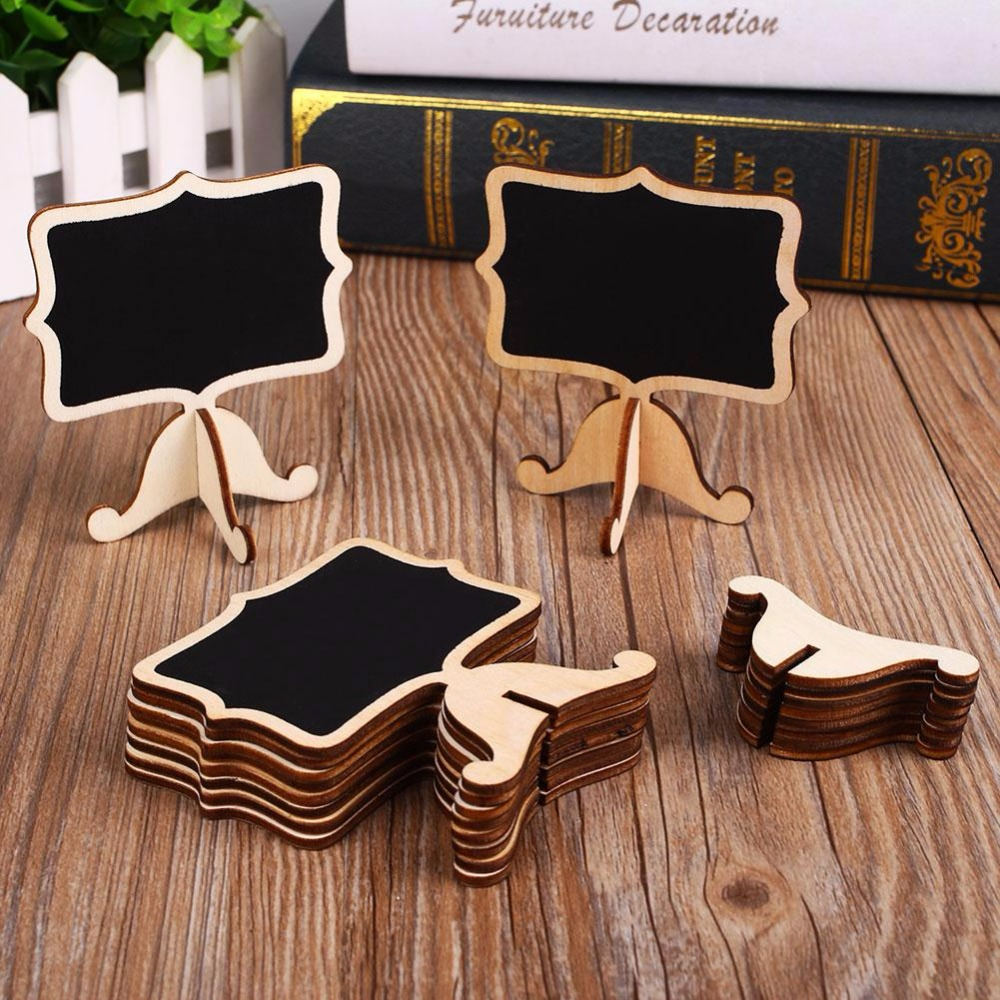 Cobee 10pcs Mini Wooden Blackboard Chalkboard Stick Stand Holder Event Party Decor School Supplies 10pcs mini retangle wood blackboard stand wedding party wooden tag black board chalkboard party office school supplies