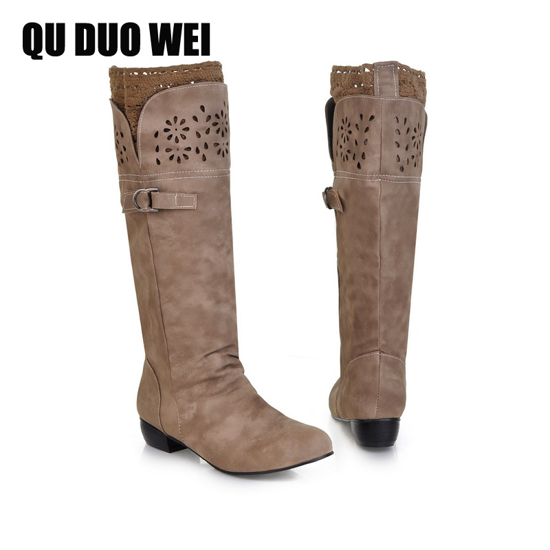 Plus Size 34-43 Women Sweet Knee High Boots Fashion Girl Lace Low Heels Platform Riding Boots Shoes Female Spring Autumn Boots newest women half knee high motorcycle boots vintage chunky heels spring autumn outdoor platform shoes woman female boots