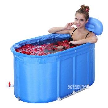 Yr001 adulto crianças banheira balde de banho de algodão-acolchoado dobrável barril de banho suporte de aço inoxidável com capa 120*75*70 cm
