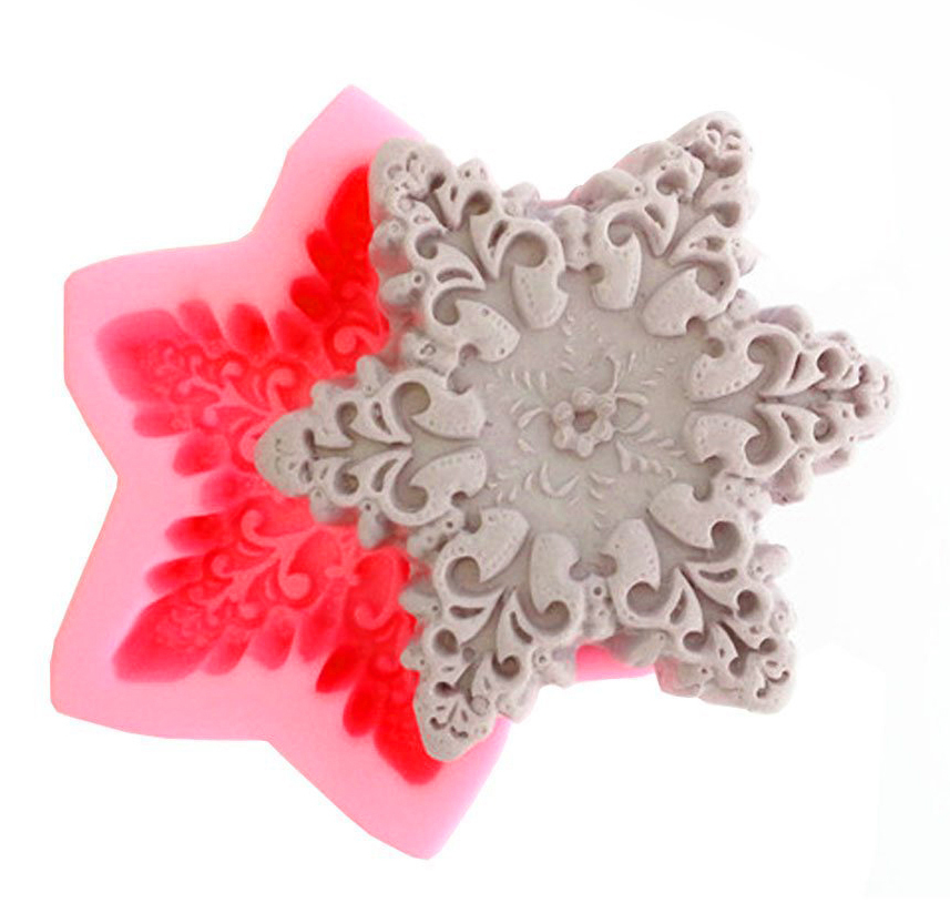 New arrived big snowflake cooking tools fondant DIY cake silicone moulds chocolate baking decoration candy Resin craft