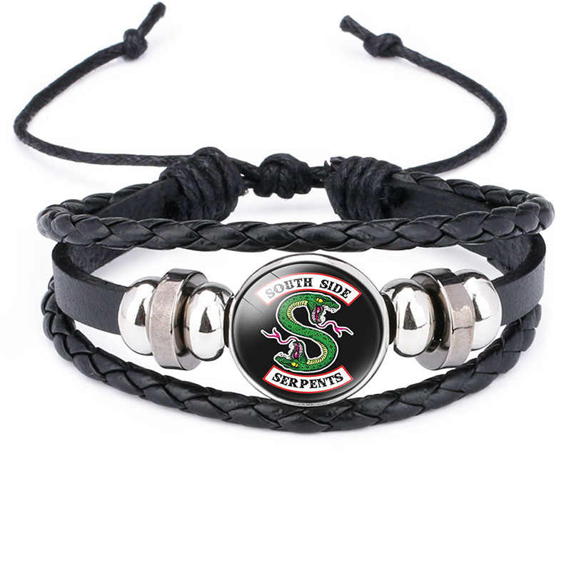 Movie Riverdale Jughead Jones Bracelet cosplay Costumes prop south side serpents Pattern Glass wristband Hand Chain