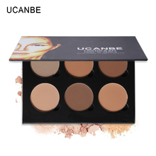 UCANBE High Quality 6 Color Powder Contour Palette Highlighter Bronzer Glow Kit Contouring Makeup Illusions 3D Face Light/Medium