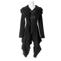 Панк рейв Готическая Лолита визуальный с роговые пуговицы куртка капюшоном пальто для женщин стимпанк моды кардиган