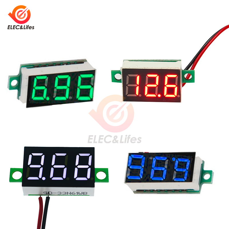 <font><b>0.36</b></font> Inch <font><b>LED</b></font> Digital Voltmeter DC 4.7-32V Voltage Tester Meter for auto car Motorcycle Volt Monitor Detector Red/Green/Blue image
