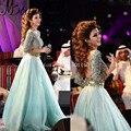 Elegantes Vestidos de Noite Longos Mulheres Vestido de Noite Kaftan Marroquino Backless Beading Lantejoulas Mangas Compridas Muçulmano Vestido de Noite