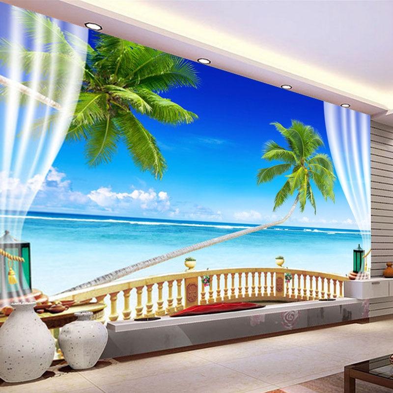 Personalizzato 3d photo wallpaper stereoscopico spazio for Carta da parati 3d mare