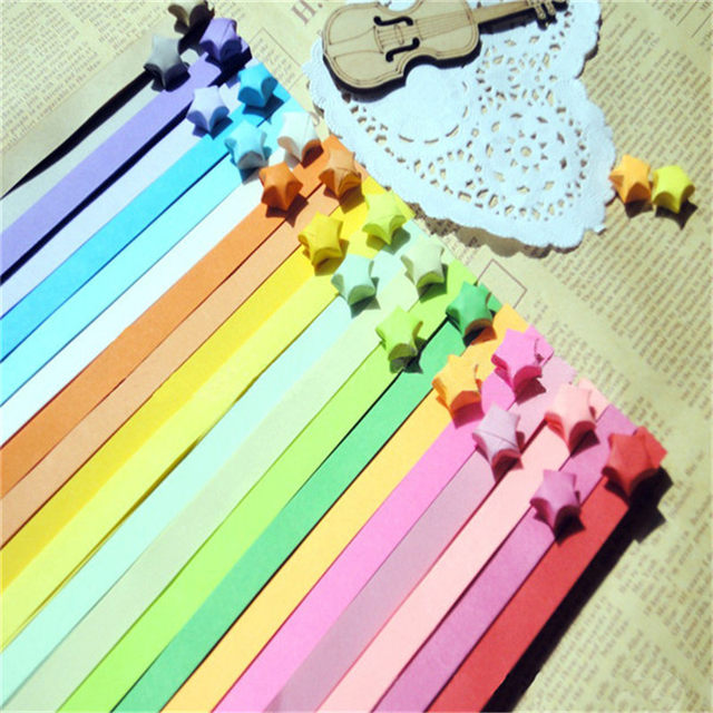 11 Colors Handcraft Origami Lucky Star Paper Strips Rainbow Colored Stars Decoration