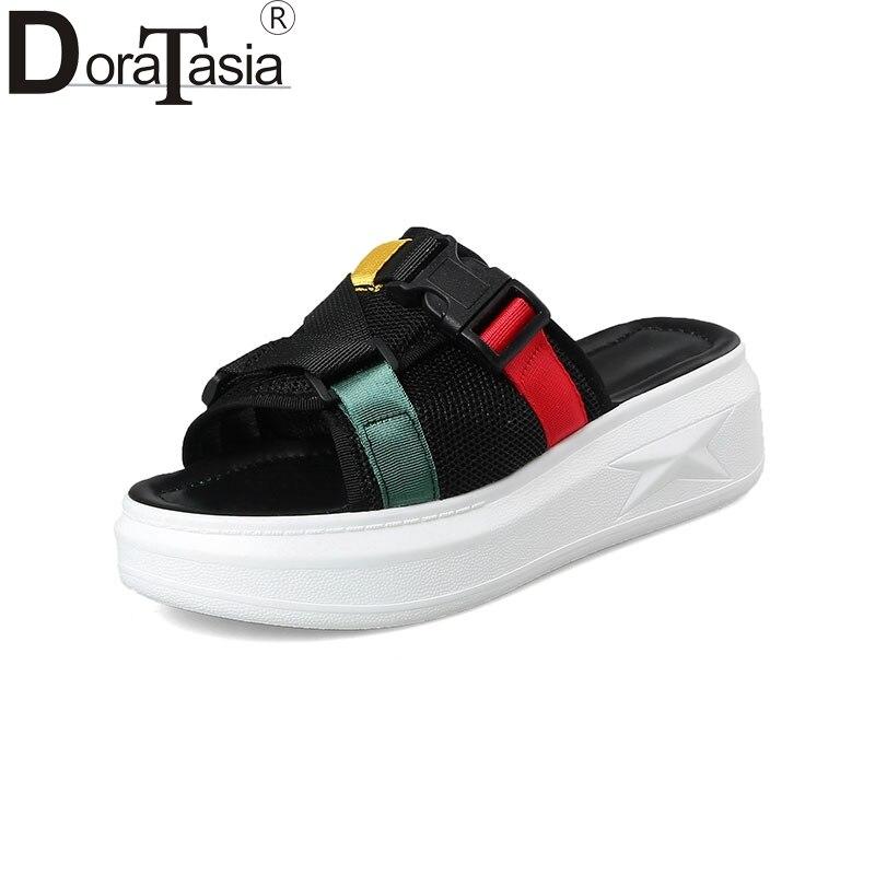 DoraTasia/2018 большой Размеры 32-42 Мода Стиль женская обувь смешанных цветов летние тапочки удобные Обувь для отдыха женщина
