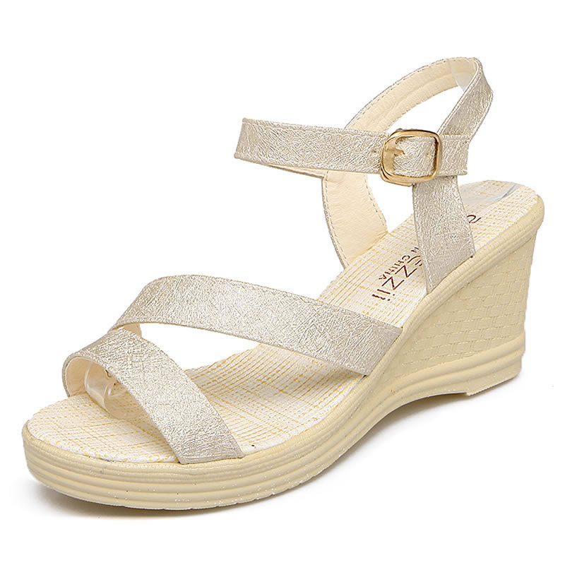Plus Size 41 Wedges Summer Women's Sandals Golden leather 2018 New Fashion Casual Shoes For Woman High heels Rome Sandalias capputine new summer sandals woman shoes 2017 fashion african casual sandals for ladies free shipping size 37 43 abs1115