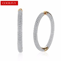 Romantic Champagne Gold Color Pave Full Cubic Zirconia Creole Round Big Hoop Earrings For Women 2018 New Fashion Jewelry Gifts