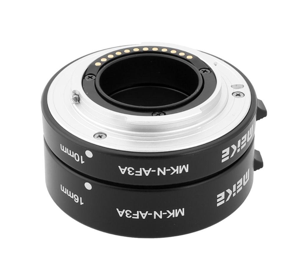 Meike MK-N-AF3A Metal Macro Prodlužovací trubice s automatickým zaostřovacím kroužkem 10mm 16mm pro Nikon J1 J2 J3 V1 V2