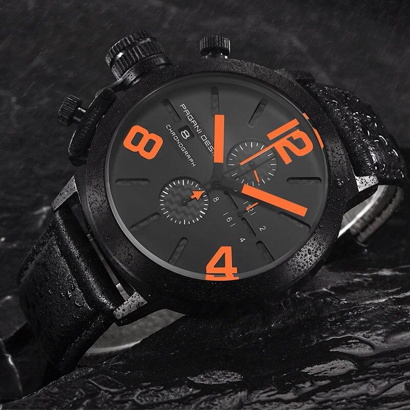 ФОТО 2017 NEW Pagani design luxury brand watches men Military Leather Men's Quartz Waterproof Multifunction Watch Relogio Masculino