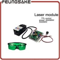 DIY 4000 МВт 5500 МВт лазерный модуль, лазерной головки 4 Вт, DIY 5,5 Вт лазеры фокус, 450nm синий свет лазера, отправить очки как подарок