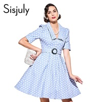 Sisjuly Vintage Dress 1950s Spring V Neck Light Blue Dot Half Sleeve Party Dress Summer Rockabilly
