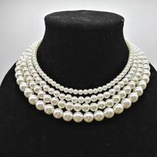 Multilayer Big Small Simulated Pearl Choker Necklace Women Statement Torques  Fashion Jewelry Bijoux Femme Gifts Wholesale