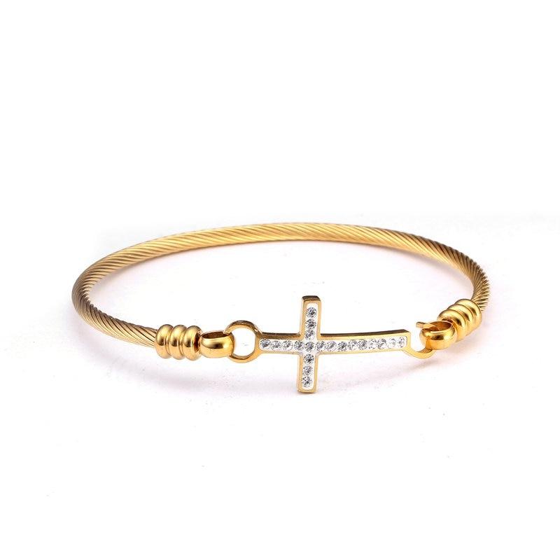 Brand Design Rose Gold Stainless Steel Charm Cross Bracelets H Word Braided Women Female Crystal Cuff Bracelets Bangles